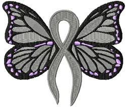 Gray Ribbon Butterfly embroidery design