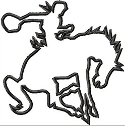 Bronco Rider Applique embroidery design