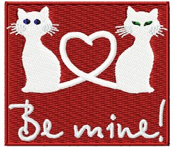 Cats Be Mine embroidery design