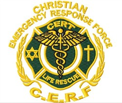 CERF Rescue Badge embroidery design