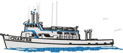 Charter Fishing Boat embroidery design
