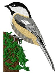 Chickadee On Moss embroidery design