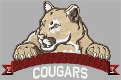 Cougars Mascot embroidery design