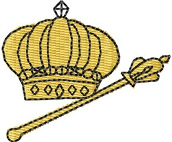 Crown & Scepter embroidery design