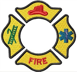 Fire Fighter Badge embroidery design