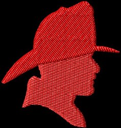 Fireman Silhouette embroidery design