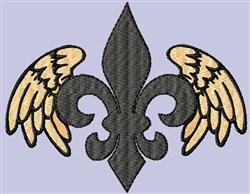 Fleur de Lis Winged embroidery design