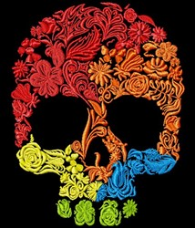 Flowery Skull embroidery design
