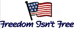 Freedom Flag Saying embroidery design