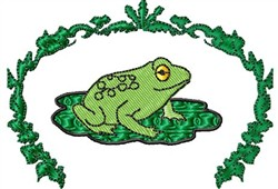 Frog on Lillypad embroidery design