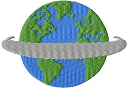 Earth With Banner embroidery design