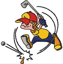 Cartoon Golfer embroidery design