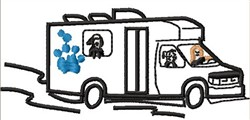 Mobile Pet Grooming embroidery design