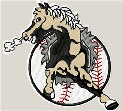Horse & Baseball Emblem embroidery design
