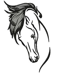 Horse Flowing Mane embroidery design