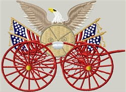 Fire Hose Cart & Eagle embroidery design