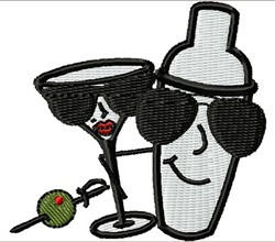 Martini Shaker And Glass embroidery design