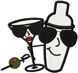 Martini Shaker & Glass embroidery design