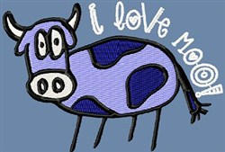 I Love Moo! Cow embroidery design