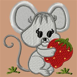 Mouse and Strawberry embroidery design