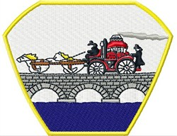 Horse Drawn Fire Engine embroidery design