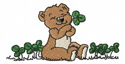 Bear with Clover embroidery design