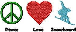 Peace Love Snowboard embroidery design