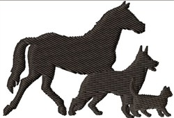 Horse, Dog and Cat embroidery design
