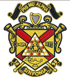 Phi Mu Alpha Crest embroidery design