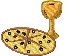 Pizza & Wine embroidery design