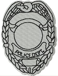 Blank Police Badge embroidery design