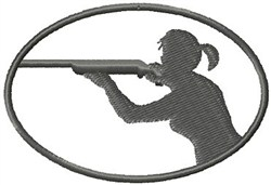 Rifle Shooting Woman embroidery design