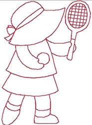 Line Stitch Tennis Sue embroidery design