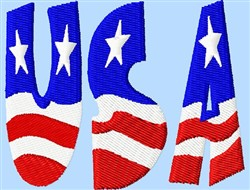 USA Flag Letters embroidery design