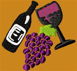 Wine & Grapes embroidery design