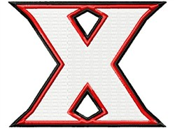Letter X Double Border embroidery design