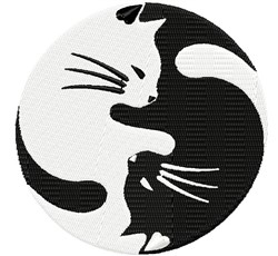 Yin Yang Cats embroidery design
