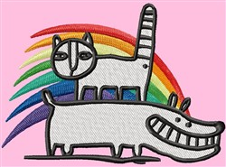 Cat Dog Rainbow embroidery design