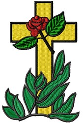 Cross & Rose embroidery design