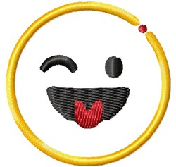 Smiley Wink Tongue embroidery design