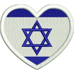 Isreal Flag Heart embroidery design