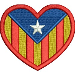 Catalonia Heart Flag embroidery design