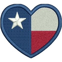 Texas Heart Flag embroidery design