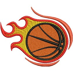 Flaming Basketball embroidery design