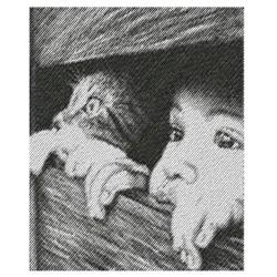 BOY & KITTY PEEPING embroidery design