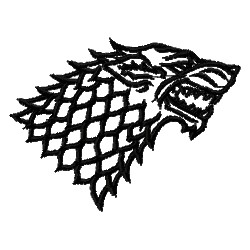HOUSE STARK WOLF embroidery design