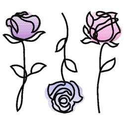 ROSES SMALL LINE ART embroidery design
