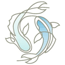 KOI FISH LINE ART embroidery design