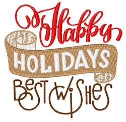 Happy Holidays Best Wishes embroidery design