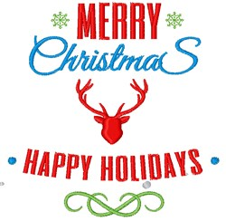 Merry Christmas Happy Holidays embroidery design